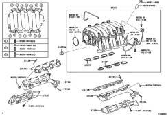 Коллектор выпускной. Toyota: Sequoia, Land Cruiser, Tundra, Land Cruiser Cygnus, 4Runner Двигатель 2UZFE