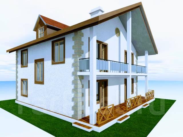046 Z Проект двухэтажного дома в Березовском. 100-200 кв. м., 2 этажа, 7 комнат, бетон