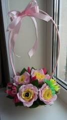Конфетная корзинка с розами из гофрированной бумаги