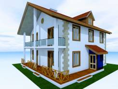 046 Z Проект двухэтажного дома в. 100-200 кв. м., 2 этажа, 7 комнат, бетон