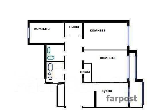 3-комнатная, улица Военное Шоссе 28. Некрасовская, частное лицо, 104 кв.м. План квартиры