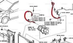 Трубка кондиционера. Toyota Vitz, KSP90 Toyota Yaris, SCP90, KSP90 Toyota Belta, KSP92 Двигатели: 1KRFE, 2SZFE