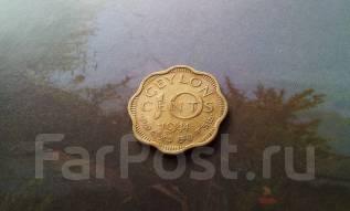 Колониальный Цейлон. Нечастые 10 центов 1944 года! Необычная форма. Ед