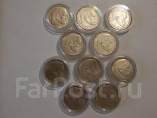 10 монет достоинством 2 Марки с 1937 по 1939 годы. Серебро.