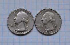 25 центов (1 квотер) 1965 1990. В лоте 2 монеты