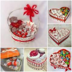 Сладкие подарки и букеты из конфет. Под заказ