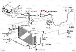 Трубка кондиционера. Toyota Harrier, MCU35, MCU36W, MCU36, MCU31, MCU30 Двигатель 1MZFE