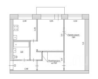 2-комнатная, шоссе Матвеевское 8. Железнодорожный, частное лицо, 44 кв.м.