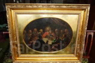 "Икона на холсте ""Тайная Вечеря"" в золотой раме. Х. м. Россия, 1840-е гг. Оригинал"