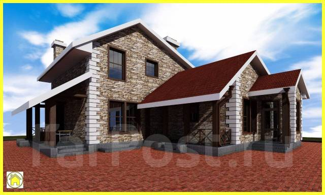 029 Z Проект двухэтажного дома в Азове. 200-300 кв. м., 2 этажа, 5 комнат, бетон