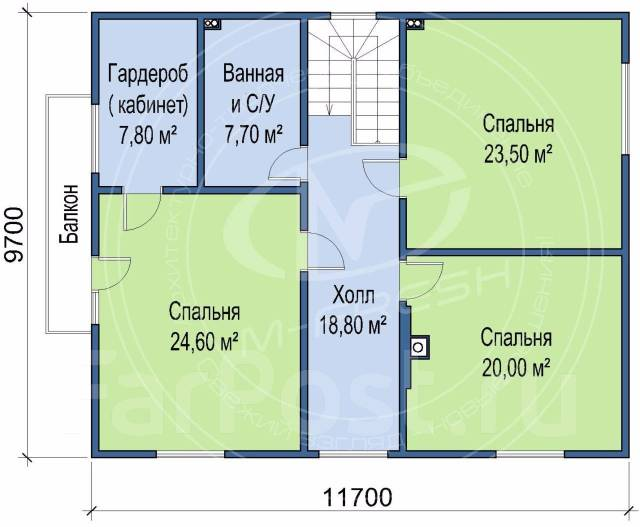 M-fresh Art Hall (Свежий готовый проект классного дома! Посмотрите! ). 200-300 кв. м., 2 этажа, 6 комнат, каркас