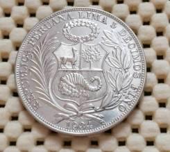 Перу 1 соль 1934г. AU Ag500 25,0гр Супер!