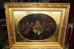 """Икона на холсте """"Тайная Вечеря"""" в золотой раме. Россия, 1840-е гг. Оригинал"""