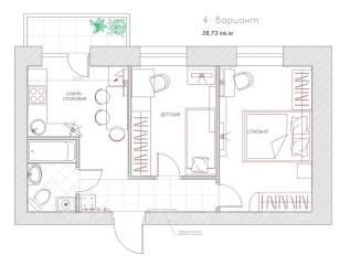 2-комнатная, Хабаровск. Железнодорожный, застройщик, 38 кв.м.