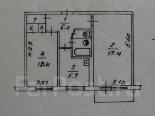 2-комнатная, проспект Карла Маркса 17. АЗС, агентство, 44 кв.м.