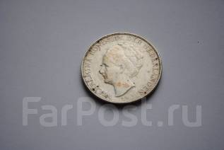 Крупная старинная монета Нидерланды 2,5 гульдена 1937 год серебро