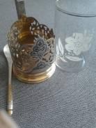 """Подстаканник """" Кубачи""""( Дагестан) Серебро-Позолота + серебряная ложка. Оригинал"""