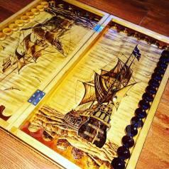Шахматы-нарды морская тематика , резные большие