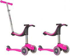 Самокат MY FREE SEAT 4 IN 1 розовый (светящиеся передние колеса) Globber