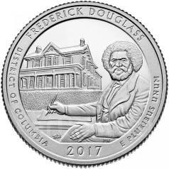 2017 г. США 25 центов 37 парк Фредерик Дуглас UNC
