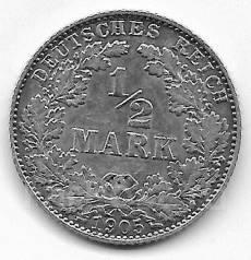 1/2 марки 1905г. Германия (D)