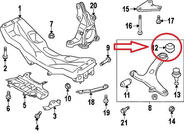 Сайлентблок подвески. Subaru: Forester, Legacy, Impreza, XV, Exiga Двигатели: EJ204, EJ205, EJ20A, EJ20E, EJ255, EJ203, EJ20C, EJ20X, EJ20Y, EJ253, EJ...