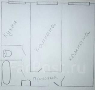 2-комнатная, улица Кирова 25. Центр, агентство, 48 кв.м. План квартиры