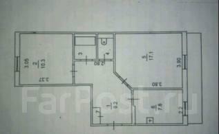 2-комнатная, улица Советская (с. Раковка) 10. с.Раковка, частное лицо, 52 кв.м. План квартиры