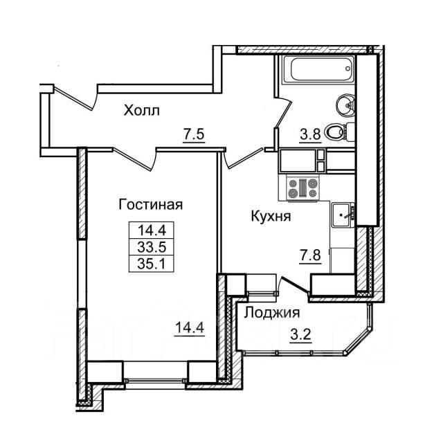 1-комнатная, улица Нейбута 17 кор. 2. 64, 71 микрорайоны, застройщик, 35кв.м. План квартиры