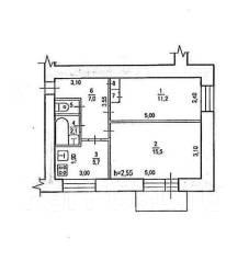 2-комнатная, улица Рокоссовского 38. Индустриальный, агентство, 44 кв.м.