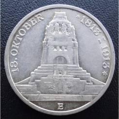 3 марки.1913 г Е. Саксония.100 лет битве народов. Серебро. АU.