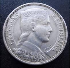 5 лат.1929г. Латвия. Милда. Серебро. XF.