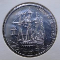 100 франков.1991г. Конго. Испанский галлеон. St/Ni. RARE. UNC.