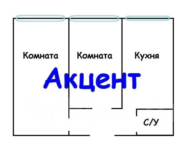 2-комнатная, улица Запорожская 2. Чуркин, агентство, 45 кв.м. План квартиры