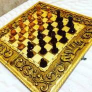 Шахматы - нарды цветные ручная работа военная тематика