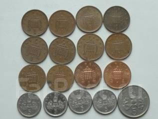 Великобритания 1 и 5 пенсов 17 монет. Без повторов! Торги с 1 рубля!