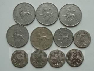 Великобритания 10 и 20 пенсов 11 монет. Без повторов! Торги с 1 рубля!