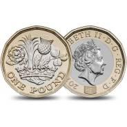 Великобритания 1 фунт 2016 г . Новый дизайн.