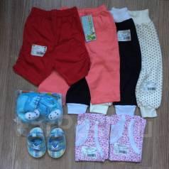 Лот новых вещей на малышку: штанишки, майки, пинетки 68-74 р-ры. Рост: 68-74, 74-80 см