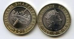 Великобритания 2 фунта 2016 400 лет со дня смерти Уильяма Шекспира UNC