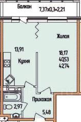 1-комнатная, улица Соколова 86/1. Энка, агентство, 42 кв.м.