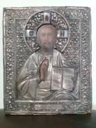 Икона Господь Вседержитель 1886 год. в серебряном окладе. Оригинал