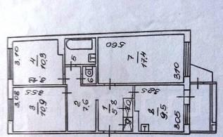 3-комнатная, улица Бохняка 15. АЗС, агентство, 67 кв.м. План квартиры