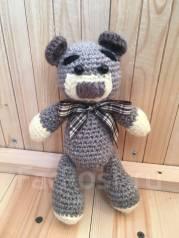 Вязаный Мишка -Тедди, 20 см, ручная работа