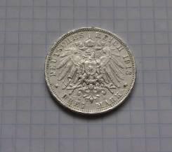 3 марки 1913 Саксония Лейпциг Серебро Обмен!