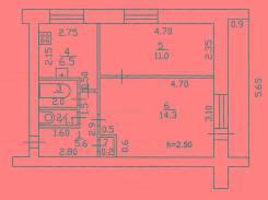 2-комнатная, улица Пионерская 7. Универсама, частное лицо, 43кв.м. План квартиры