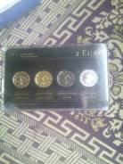 Эксклюзивный набор 2 евро Латвии. Покрытие из драгоценных металлов.