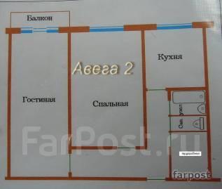 2-комнатная, улица Тухачевского 28. БАМ, проверенное агентство, 44 кв.м. План квартиры