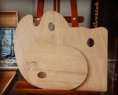 Палитра деревянная, 40*50, 5 мм, овальная, прямоугольная