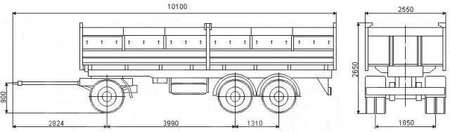 Нефаз. 8538-10-01 прицеп самовал (зерновоз), 15 000 кг.